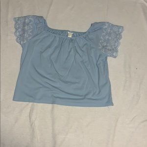 Light blue and white off the shoulder top